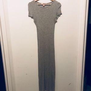 Grey ribbed midi maxi dress